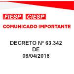 Comunicado Importante - DECRETO 63.342, de 06/04/2018